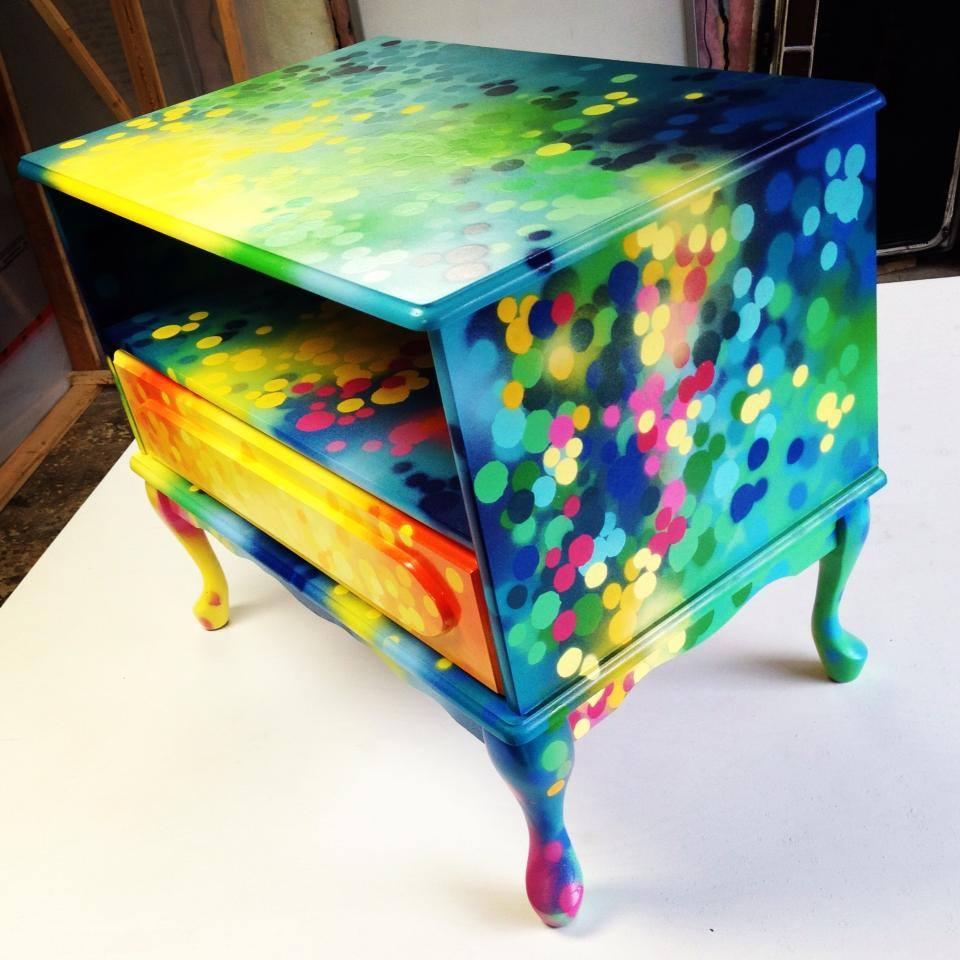 NIGHTSTAND BEDSIDE TABLE Graffiti Painting Artwork On